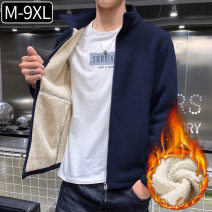 Jacket Fuyiku 889 Plush grey XL,L,M,4XL,5XL,6XL,7XL,8XL,XXL,XXXL,9XL Plush and thicken standard Other leisure winter Long sleeves Wear out stand collar American leisure youth routine Zipper placket 2019 Round hem No process Regular sleeve Solid color Zipper bag other
