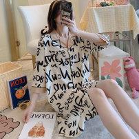 Nightdress KATIE KITTY YSD shirt skirt -3807 English (champagne), YSD shirt skirt -3802 wave point (white), YSD shirt skirt -3802 wave point (pink), YSD shirt skirt -3806 graffiti, YSD shirt skirt, -3809 white letter, YSD shirt skirt, perfume bottle, shirt skirt love. M,L,XL,XXL Sweet Middle sleeve