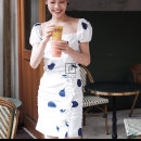 Dress Summer 2020 Wave point S,M,L Mid length dress singleton  Short sleeve Sweet square neck High waist Dot Socket One pace skirt puff sleeve 25-29 years old Type A Atelier Miss Lu More than 95% cotton Countryside