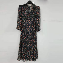 Dress Summer 2021 black M,L,XL,2XL,3XL longuette singleton  Short sleeve commute Doll Collar High waist Solid color Single breasted A-line skirt routine 25-29 years old Type H Tiantianhui Button 51% (inclusive) - 70% (inclusive) knitting cotton