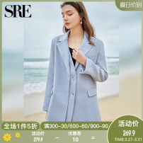 suit Spring 2021 Light blue S M L XL Long sleeves routine easy Refutation Single breasted commute routine Solid color BEX001 25-29 years old 96% and above polyester fiber Apparel (SRE) Asymmetric button stitching Polyester 97.6% polyurethane elastic fiber (spandex) 2.4% Pure e-commerce (online only)