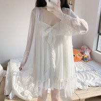 Pajamas / housewear set female Other / other Average size Chiffon jacket piece, suspender skirt piece other Long sleeves sexy summer Thin money V-neck Solid color Socket youth 2 pieces More than 95% other Embroidery 200g Short skirt