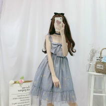 Dress Summer 2021 Grey blue suspender skirt, cream apricot suspender skirt, white undercoat, apricot undercoat, pink undercoat and black undercoat Average size Middle-skirt singleton  Sleeveless Sweet square neck High waist Broken flowers Socket Princess Dress camisole 18-24 years old Type A bow