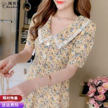 Dress Summer 2021 Pink flower yellow flower S M L XL 2XL Mid length dress singleton  Short sleeve commute Doll Collar High waist Decor Socket A-line skirt routine Others 25-29 years old Type A Pure Benny Korean version Lace CBN480304 91% (inclusive) - 95% (inclusive) Chiffon polyester fiber