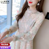 Dress Spring 2021 Grass green flower S M L XL longuette singleton  Long sleeves commute Crew neck High waist Solid color Socket A-line skirt routine Others 25-29 years old Type A Pure Benny Korean version Lace CBN050105 91% (inclusive) - 95% (inclusive) Lace polyester fiber