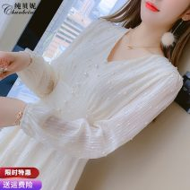Dress Spring 2021 Apricot S M L XL Mid length dress singleton  Long sleeves commute V-neck High waist Solid color zipper A-line skirt routine Others 25-29 years old Type A Pure Benny Korean version CBN031226 91% (inclusive) - 95% (inclusive) Chiffon polyester fiber Pure e-commerce (online only)