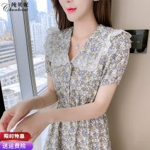 Dress Summer 2021 Picture color S M L XL 2XL Mid length dress singleton  Short sleeve commute Doll Collar High waist Decor Socket A-line skirt routine Others 25-29 years old Type A Pure Benny Korean version CBN030414 91% (inclusive) - 95% (inclusive) Chiffon polyester fiber