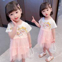 Dress Pink female 80cm 90cm 100cm 110cm 120cm 130cm Other 100% summer princess Short sleeve Cartoon animation cotton Splicing style Class B Summer 2021 12 months, 18 months, 2 years old, 3 years old, 4 years old, 5 years old, 6 years old Chinese Mainland Zhejiang Province Huzhou City