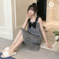 Nightdress KATIE KITTY M,L,XL,XXL Sweet Sleeveless Leisure home Middle-skirt summer lattice youth One word collar cotton printing More than 95% pure cotton Plaid Dress 200g and below