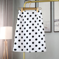 skirt Summer 2021 S,M,L,XL,2XL White, black Mid length dress Versatile High waist A-line skirt Dot Type A 30-34 years old 30% and below other Zhuo Suyi other zipper 251g / m ^ 2 (including) - 300g / m ^ 2 (including)