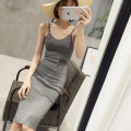 Dress Summer of 2018 Black Grey Pink S M L XL Mid length dress singleton  Sleeveless commute V-neck middle-waisted Solid color Socket One pace skirt routine camisole 18-24 years old Type X Spring Pictures Korean version backless More than 95% knitting other Other 100% Pure e-commerce (online only)