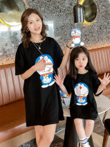 Parent child fashion Black white pink orange Women's dress female Ciel & Dora / shire and Dora 90cm 100cm 110cm 120cm 130cm 140cm 150cm mother XS mother s mother m mother l CDG2230 summer Korean version Thin money printing Finished T-shirt cotton L M S XS CDG2230 Summer 2021 Chinese Mainland