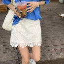 skirt Summer 2021 S,M,L,XL white Short skirt commute High waist A-line skirt Solid color Type A 18-24 years old 91% (inclusive) - 95% (inclusive) other polyester fiber Gouhua hollow, gauze net Korean version