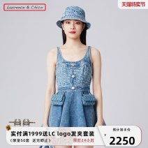 Dress Spring 2021 Old flower light blue S M L Short skirt singleton  Sleeveless commute other High waist letter zipper Big swing camisole 25-29 years old Type A Laurence & Chico Simplicity Lotus leaf edge 21SSC5014 More than 95% Denim cotton Cotton 100%