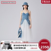 Dress Spring 2021 Light blue S M L longuette Fake two pieces Sleeveless Sweet other High waist Solid color zipper Big swing camisole 25-29 years old Type A Laurence & Chico Splicing More than 95% Denim other Other 100% princess Same model in shopping mall (sold online and offline)