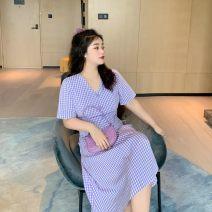 Dress Summer 2020 Purple, blue, yellow L,XL,2XL,3XL,4XL,5XL Mid length dress singleton  Short sleeve Button, stitching ACCE6B060
