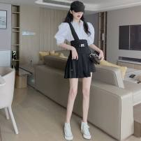 skirt Summer 2020 S. M, average size Black one side strap skirt V, white medium sleeve shirt M Short skirt commute High waist Pleated skirt Solid color Type A 18-24 years old 30% and below Tuck, open back, fold, lace, asymmetry, strap