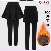 Leggings Winter 2020 Black pleated skirt with velvet, grey pleated skirt with velvet, black pleated skirt without velvet, grey pleated skirt without velvet, black arm skirt with velvet, grey arm skirt with velvet M. L, XL, 2XL, 3XL, 4XL, 5XL, 6xl, s size 75-90jin Plush trousers gkWgJmfl6SELOXiM other