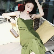 Dress Summer 2021 green S,M,L,XL Mid length dress singleton  Sleeveless commute square neck High waist Solid color zipper Big swing other camisole 18-24 years old Type H Other / other Simplicity Epaulet, lace up 2021581 30% and below other other