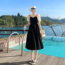 Dress Summer 2021 Short sleeve singleton  Medium length skirt commute V-neck puff sleeve High waist Condom Solid color 18-24 years old A-line skirt 30% and below other Type A 21592 Other Korean version Splicing Other / other other S,M,L