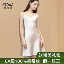 Nightdress 160(M) 165(L) 170(XL) 175(XXL) Sweet camisole pajamas Middle-skirt summer Solid color youth V-neck silk More than 95% silk Spring 2021 Mulberry silk 100% Pure e-commerce (online only)