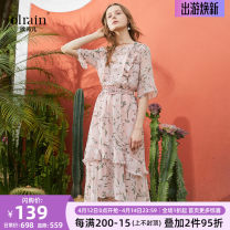 Dress Summer of 2018 Pink Decor S,M,L,XL longuette singleton  elbow sleeve Sweet Crew neck middle-waisted Broken flowers Socket Lotus leaf sleeve Others 25-29 years old OLrain Lace, embroidery 8XLC12813 polyester fiber solar system