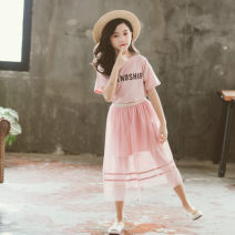suit Tong Xiaoliu Pink 110cm 120cm 130cm 140cm 150cm 160cm female summer ethnic style Short sleeve + skirt 2 pieces Thin money There are models in the real shooting Socket nothing Solid color cotton Shopping Class B Cotton 95% other 5% Summer 2021 Chinese Mainland Guangdong Province Foshan City
