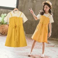 Dress Pink yellow female Tong Xiaoliu 110cm 120cm 130cm 140cm 150cm 160cm Cotton 95% other 5% summer leisure time Skirt / vest stripe cotton A-line skirt Class B Summer 2021 Chinese Mainland Guangdong Province Foshan City