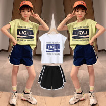 suit Tong Xiaoliu Green top + Blue Shorts White Top + black shorts 110cm 120cm 130cm 140cm 150cm 160cm female summer motion Two piece set 2 pieces Thin money There are models in the real shooting nothing Solid color cotton Class B Cotton 95% other 5% Chinese Mainland Guangdong Province Foshan City