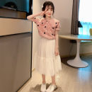 suit Tong Xiaoliu Pink white 110cm 120cm 130cm 140cm 150cm 160cm female summer college Two piece set 2 pieces Thin money There are models in the real shooting Socket nothing Dot cotton Shopping Class B Cotton 95% other 5% Summer 2021 Four, five, six, seven, eight, nine, ten, eleven, twelve