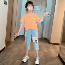 suit Tong Xiaoliu 110cm 120cm 130cm 140cm 150cm 160cm female summer leisure time Short sleeve + pants 2 pieces Thin money There are models in the real shooting Socket nothing Solid color cotton Class B Cotton 95% other 5% Four, five, six, seven, eight, nine, ten, eleven, twelve Chinese Mainland