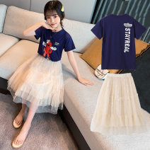 suit Tong Xiaoliu Blue purple top + Sequin skirt 110cm 120cm 130cm 140cm 150cm 160cm female summer college Short sleeve + skirt 2 pieces Thin money There are models in the real shooting Socket nothing letter cotton Shopping Class B Cotton 95% other 5% Summer 2021 Chinese Mainland Guangdong Province