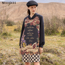 Dress Winter of 2019 Deep blue Camel S M L XL XXL Mid length dress singleton  Long sleeves commute Hood middle-waisted Abstract pattern Socket other routine Others 25-29 years old Type H The answer Retro printing 201ML0011 51% (inclusive) - 70% (inclusive) cotton