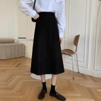skirt Spring 2021 M, L Black, apricot, coffee, 300 pieces of customized special shot Mid length dress commute High waist A-line skirt Solid color Type A 18-24 years old Korean version