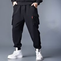 Casual pants Family of fat friends Youth fashion black M,L,XL,2XL,3XL,4XL routine trousers Other leisure Straight cylinder Micro bomb Four seasons Large size tide 2021 Medium high waist Little feet Solid color other cotton cotton