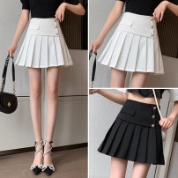 skirt Summer 2021 S,M,L,XL White, black Short skirt commute High waist Pleated skirt Solid color Type A 91% (inclusive) - 95% (inclusive) other other Pocket, zipper