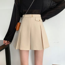 skirt Summer 2021 S,M,L Apricot, black Short skirt commute High waist Pleated skirt Solid color Type A 25-29 years old 51% (inclusive) - 70% (inclusive) other Pleating 401g / m ^ 2 (inclusive) - 500g / m ^ 2 (inclusive)