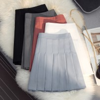 skirt Spring 2021 S,M,L,XL Short skirt commute High waist Pleated skirt Solid color Type A 25-29 years old knitting polyester fiber fold