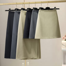 skirt Summer 2021 S,M,L,XL longuette Versatile High waist Umbrella skirt Solid color Type A 31% (inclusive) - 50% (inclusive) other other zipper 401g / m ^ 2 (inclusive) - 500g / m ^ 2 (inclusive)