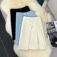 skirt Summer 2021 S,M,L,XL Black, sky blue, apricot Short skirt commute High waist A-line skirt Solid color Type A 18-24 years old 51% (inclusive) - 70% (inclusive) other other Buttons, pockets, zippers