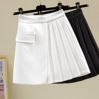 skirt Spring 2021 S,M,L,XL Black, white Short skirt commute High waist Pleated skirt Solid color Type A 25-29 years old 91% (inclusive) - 95% (inclusive) other polyester fiber fold