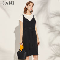 Dress Summer 2020 H00 black S M Mid length dress Two piece set Short sleeve commute Crew neck middle-waisted Solid color Socket A-line skirt routine camisole 35-39 years old sani 24X034LQ7643 More than 95% cotton Cotton 100% Same model in shopping mall (sold online and offline)