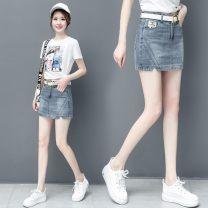 Jeans Summer 2021 blue S,M,L,XL,2XL,3XL shorts High waist Straight pants routine Washed, polished, Multi Pocket Cotton denim Dark color W505-0324 Handucat / handu cat