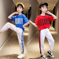 suit Red, blue, yellow 110cm 120cm 130cm 140cm 150cm 160cm 170cm female summer Korean version Short sleeve + pants 2 pieces Thin money There are models in the real shooting Socket nothing Solid color cotton children Giving presents at school Class B Cotton 95% polyurethane elastic fiber (spandex) 5%