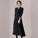 Dress Autumn 2020 black S M L XL XXL longuette singleton  Long sleeves commute tailored collar High waist Solid color Socket Pleated skirt routine Others 25-29 years old Type A fold More than 95% polyester fiber Polyester 95% polyurethane elastic fiber (spandex) 5%