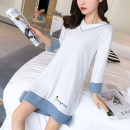 Nightdress Other / other White, light blue, lake blue, pink, lotus root, treasure blue, dark blue, apricot, navy blue, pink skirt, grey skirt, white suit, pink suit, grey suit, 9174 white, 9174 bean paste, 9174 gray, 9174 blue, 9174 purple 160(M),165(L),170(XL),175(XXL) Simplicity Long sleeves autumn