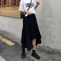 Women's large Summer 2020, spring 2020 skirt singleton  commute easy Solid color Korean version Medium length Polyester, cotton Three dimensional cutting 18-24 years old Asymmetry Medium length Irregular skirt