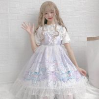 Dress Spring 2021 Purple suspender skirt, purple suspender skirt + veil, collection and purchase currency Mid length dress singleton  Sleeveless Other Print, lace, stitching F9DE407