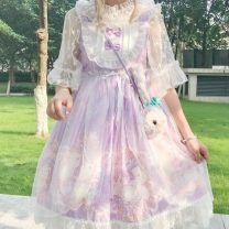 Dress Spring 2021 Purple, blue, pink, purple + veil, pink + veil, blue + veil, collection and purchase Average size Mid length dress singleton  Sleeveless Bows, lace, prints 8D9DE407 30% and below