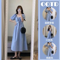 Women's large Summer 2021 Picture color singleton  commute easy Socket Short sleeve Solid color Simplicity square neck Medium length printing and dyeing puff sleeve 6122# Star Charm 18-24 years old 31% (inclusive) - 50% (inclusive) longuette Other 100% Princess Dress zipper